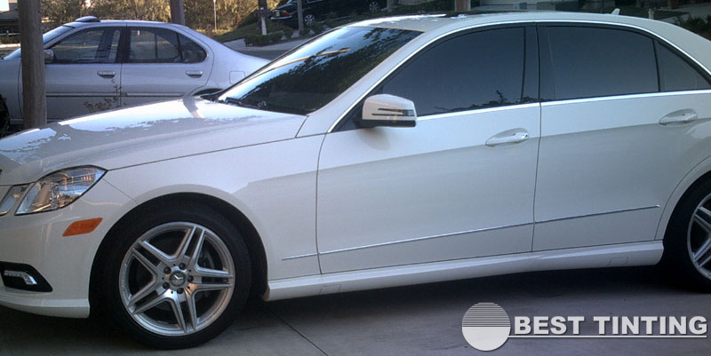 White Mercedes with Tinted Windows by Best Tinting